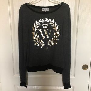 Wildfox gold foil laurel jumper